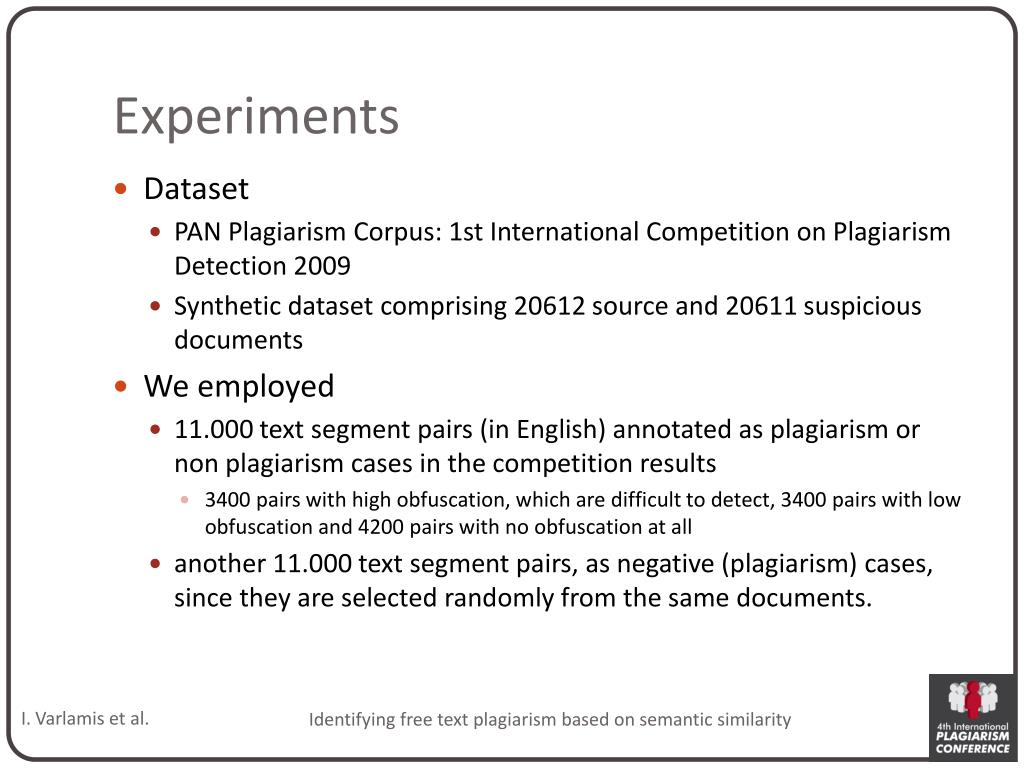 PPT - Identifying free text plagiarism based on semantic