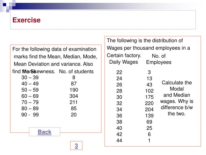For the following data of examination