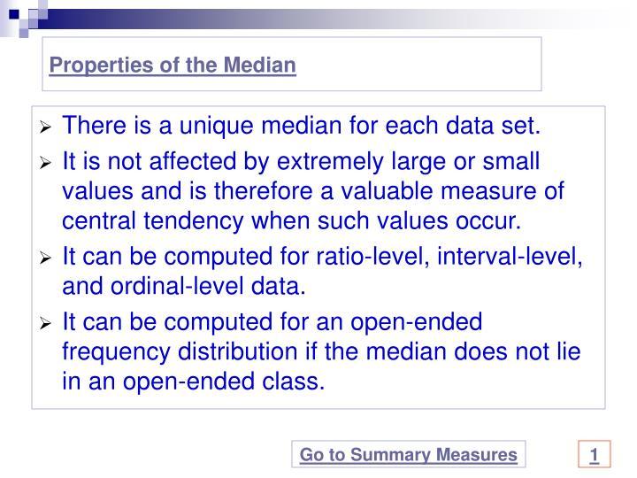 Properties of the Median