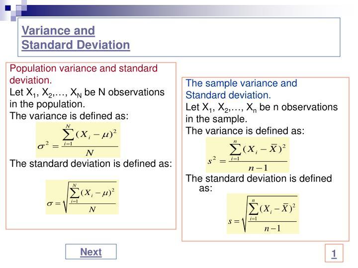 Population variance and standard