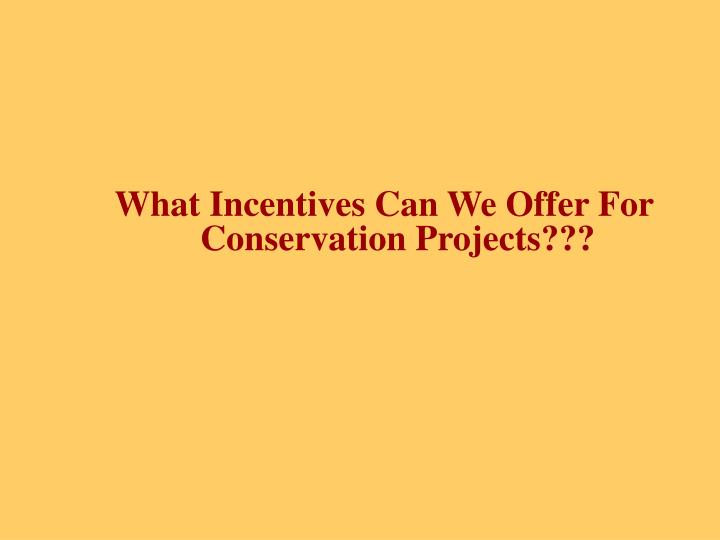 What Incentives Can We Offer For Conservation Projects???