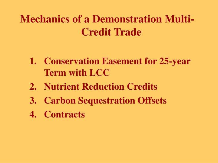 Mechanics of a Demonstration Multi-Credit Trade