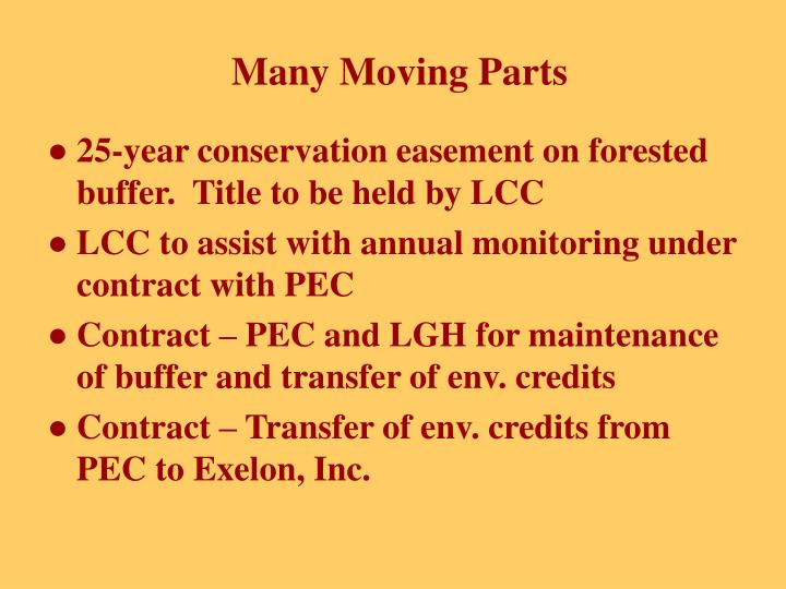25-year conservation easement on forested buffer.  Title to be held by LCC