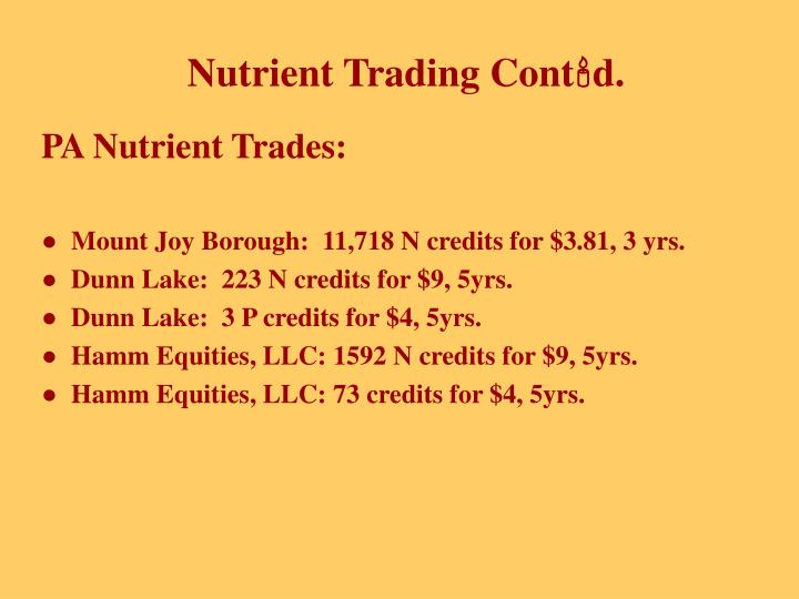 PA Nutrient Trades: