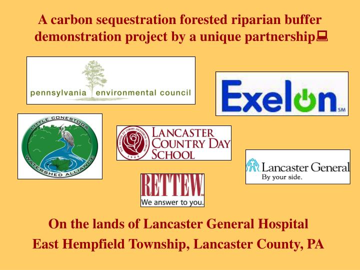 A carbon sequestration forested riparian buffer