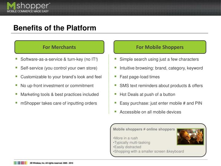 Benefits of the Platform
