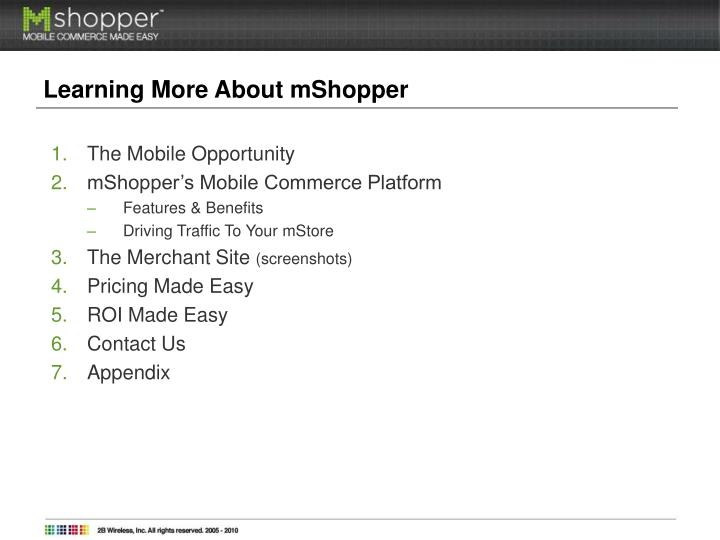 Learning More About mShopper