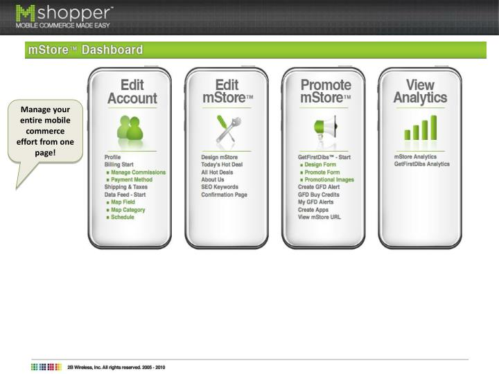 Manage your entire mobile commerce effort from one page!