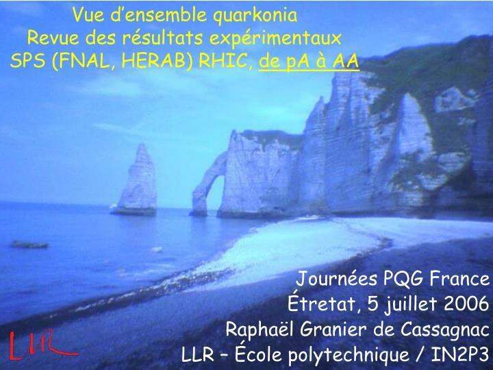 vue d ensemble quarkonia revue des r sultats exp rimentaux sps fnal herab rhic de pa aa n.