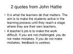 2 quotes from john hattie