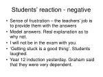 students reaction negative