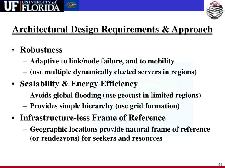 Architectural Design Requirements & Approach