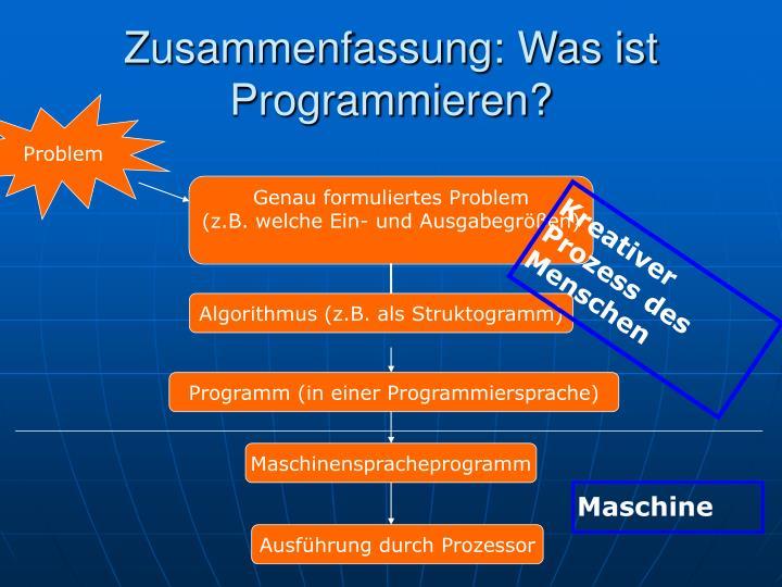 Zusammenfassung: Was ist Programmieren?