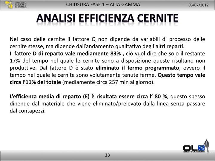 analisi efficienza cernite