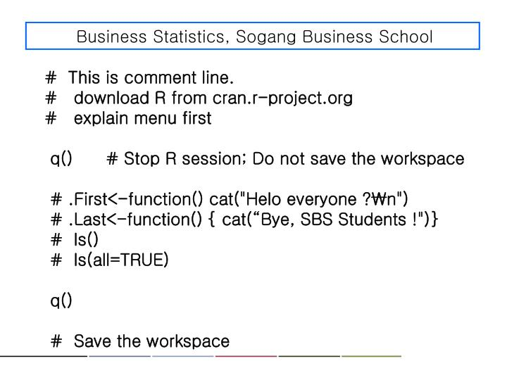 Business Statistics, Sogang Business School