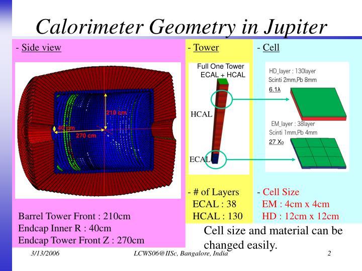 Calorimeter geometry in jupiter