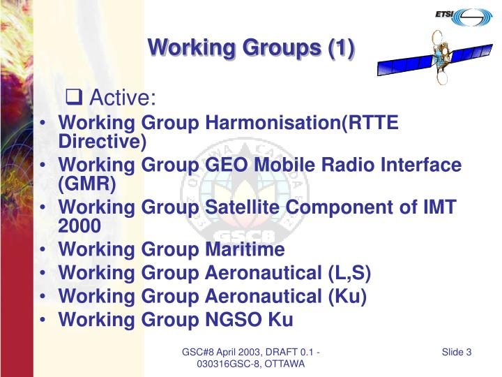 Working groups 1