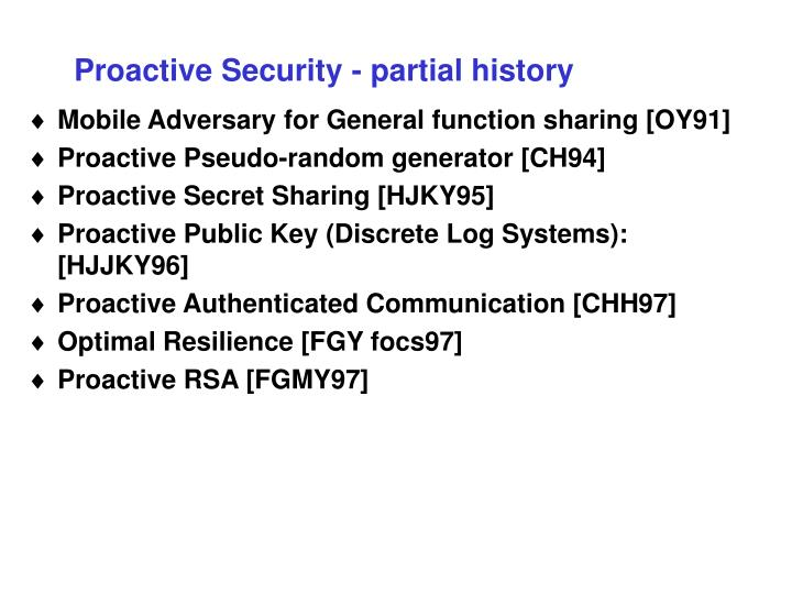 Proactive Security - partial history