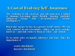 a cost of evolving self awareness