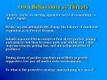 own behaviours as threats