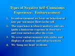 types of negative self conscious experience embarrassment
