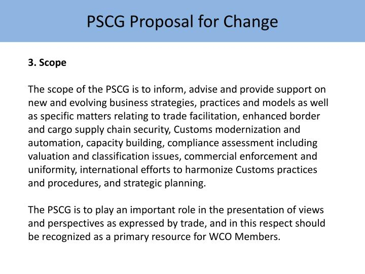 PSCG Proposal for Change
