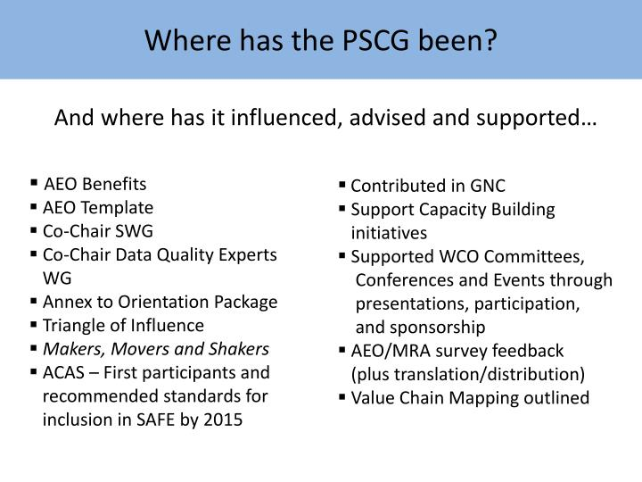 Where has the PSCG been?