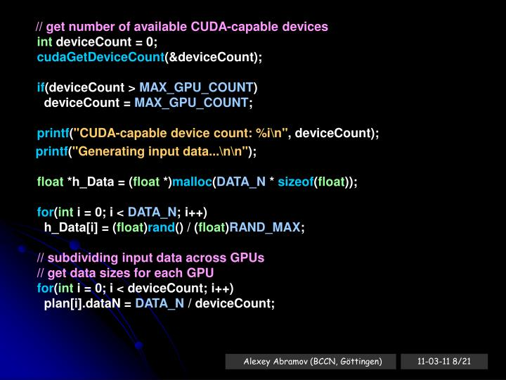 // get number of available CUDA-capable devices