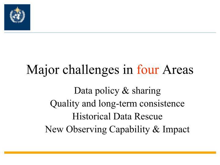 Major challenges in