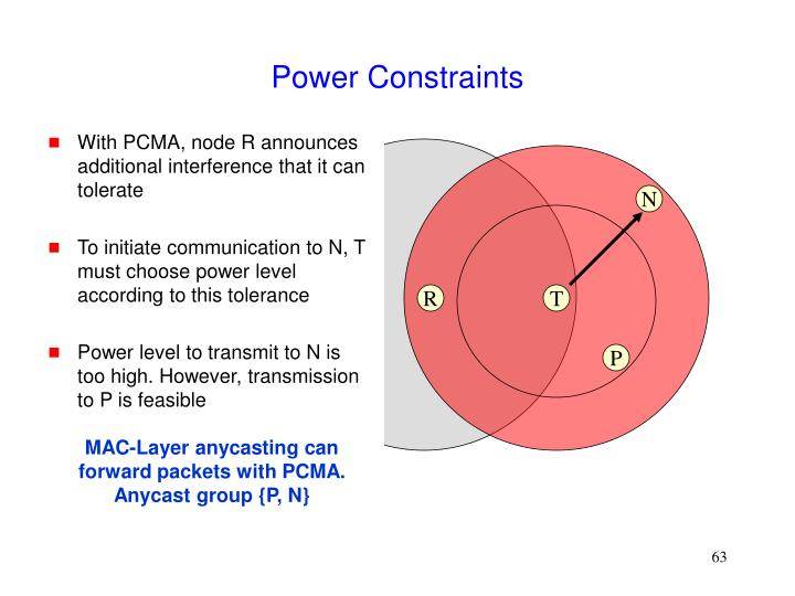 With PCMA, node R announces additional interference that it can tolerate