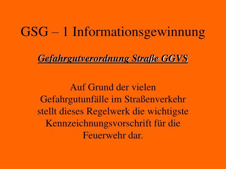 gsg 1 informationsgewinnung n.
