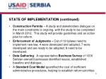 state of implementation continued