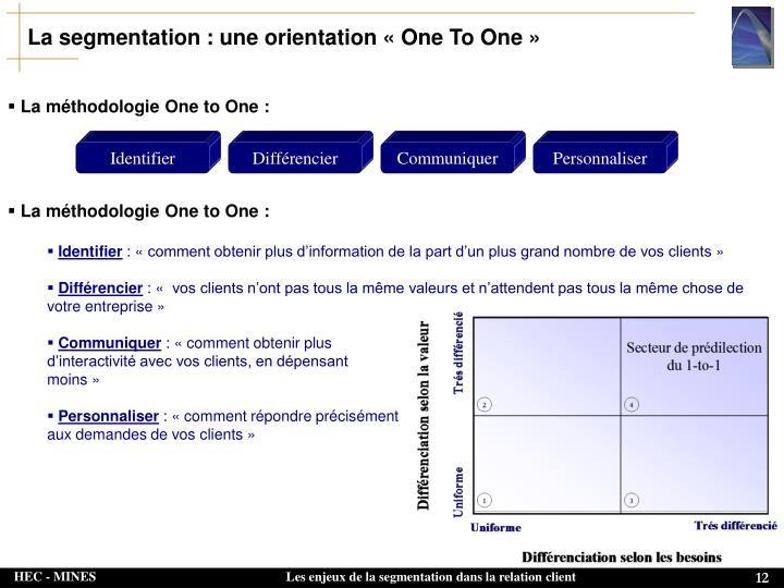 La segmentation : une orientation «One To One»