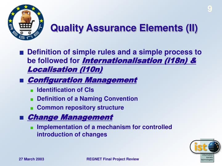 Quality Assurance Elements (II)