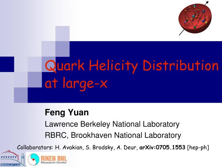 quark helicity distribution at large x n.