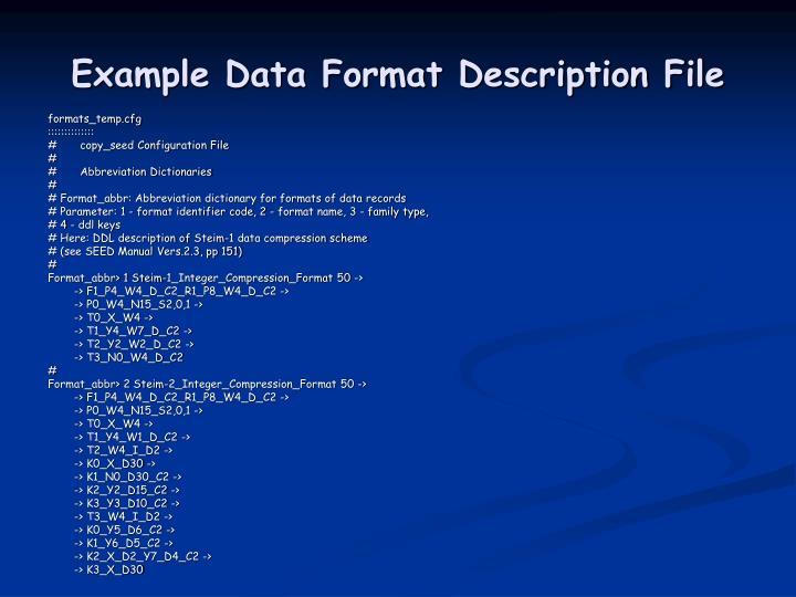 Example Data Format Description File