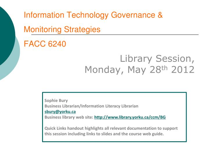 information technology governance monitoring strategies facc 6240 n.