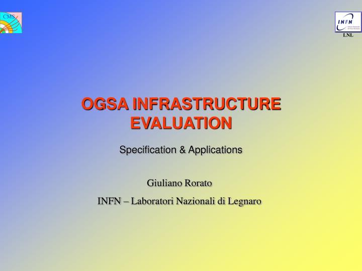 ogsa infrastructure evaluation n.