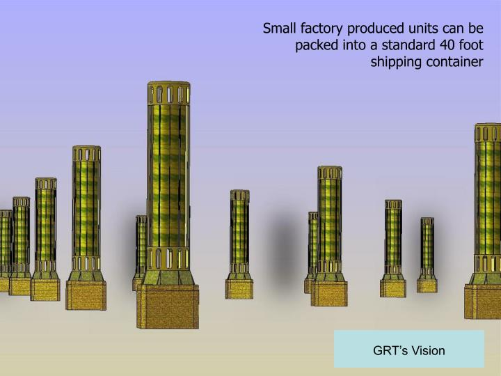 Small factory produced units can be packed into a standard 40 foot shipping container