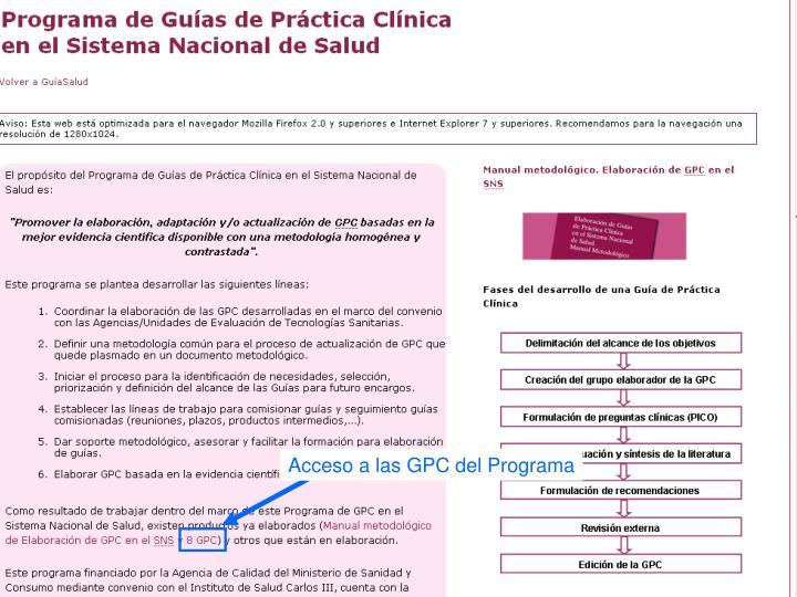 Acceso a las GPC del Programa