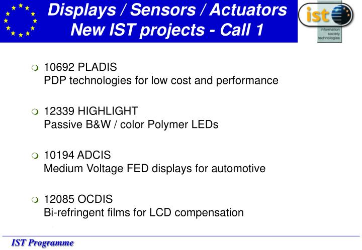 Displays / Sensors / Actuators