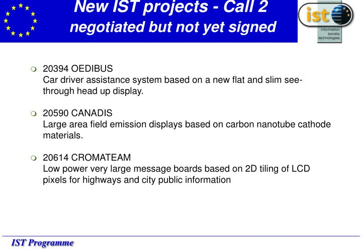 New IST projects - Call 2