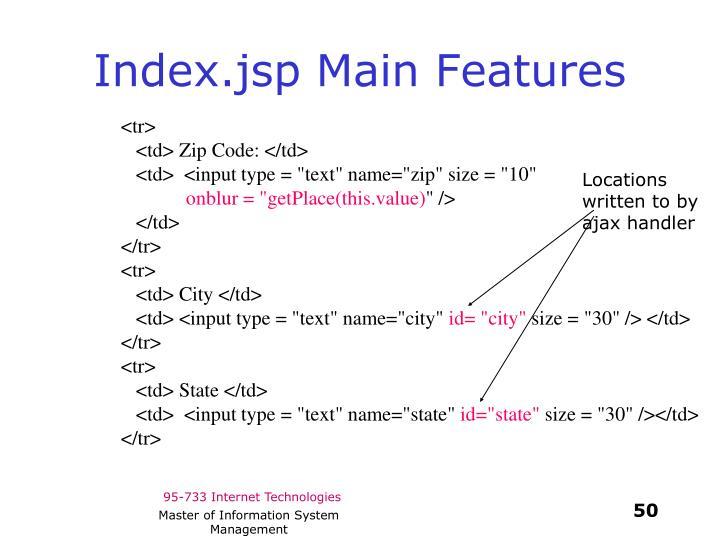 Index.jsp Main Features