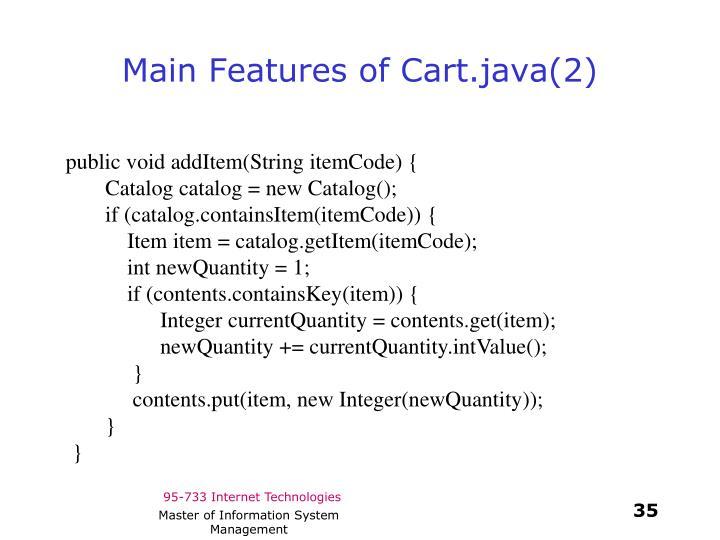 Main Features of Cart.java(2)