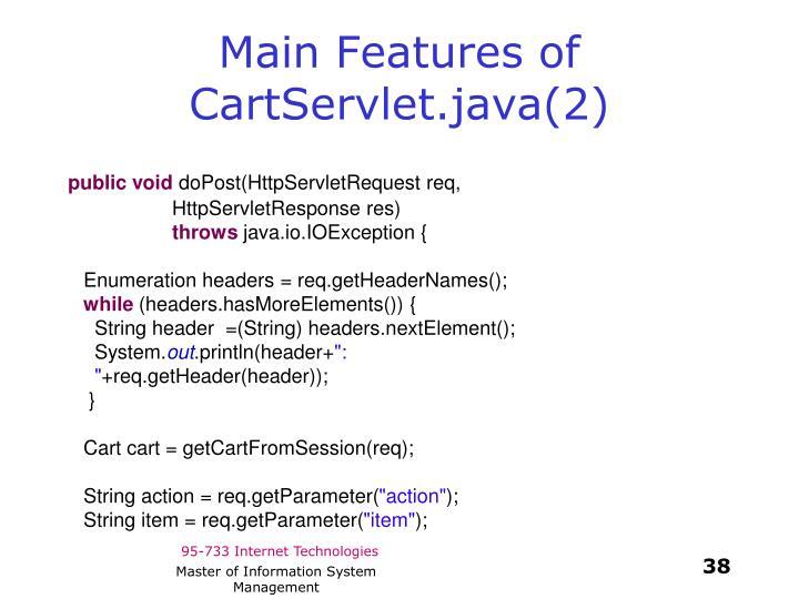 Main Features of CartServlet.java(2)