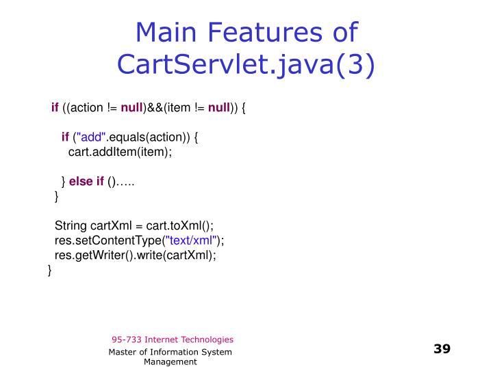Main Features of CartServlet.java(3)