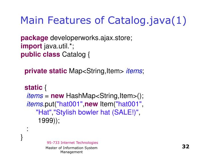 Main Features of Catalog.java(1)