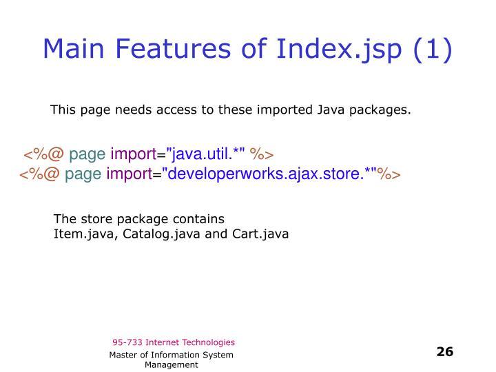 Main Features of Index.jsp (1)