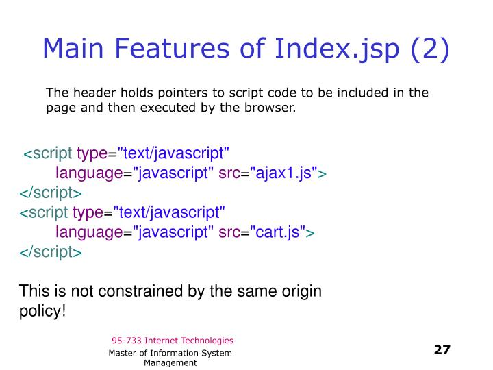 Main Features of Index.jsp (2)