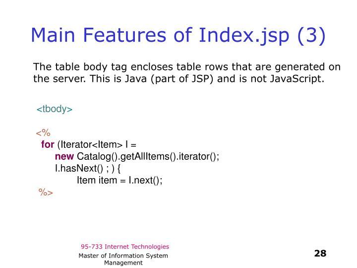 Main Features of Index.jsp (3)